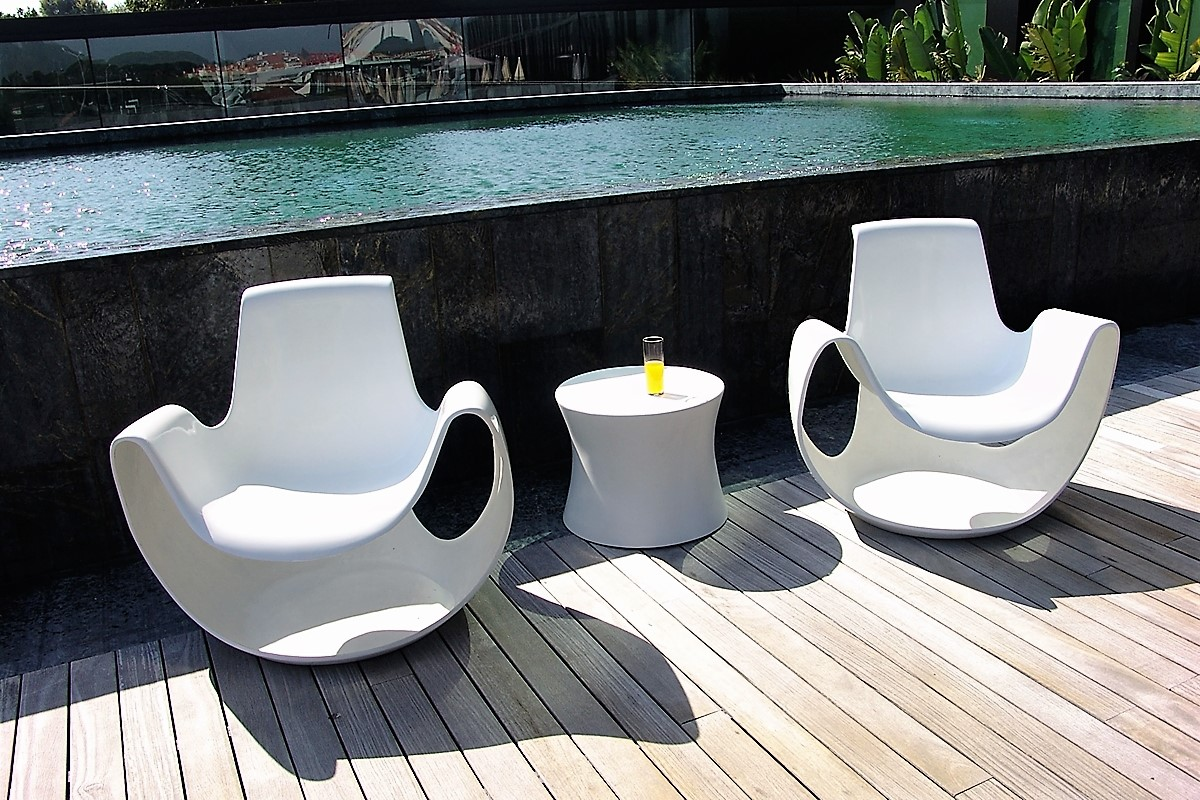 Pool side chair and table